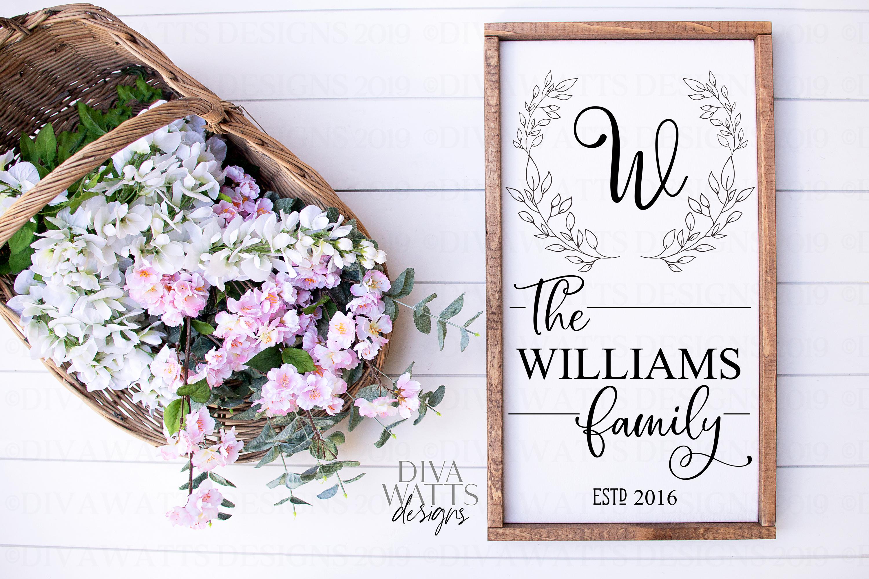 Monogram Wreath Family Last Name Farmhouse Sign SVG example image 1
