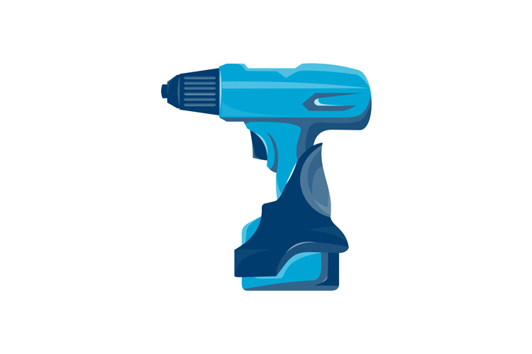 cordless drill side view retro example image 1
