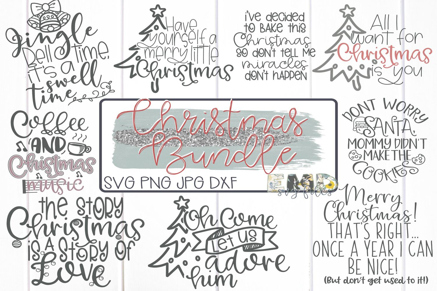 Christmas Holiday Bundle Svg | Merry Christmas Svg example image 1