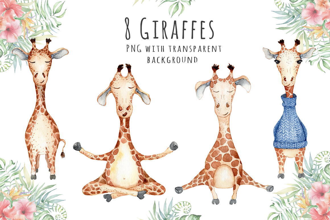 Lovely Giraffes watercolor illustration example image 2