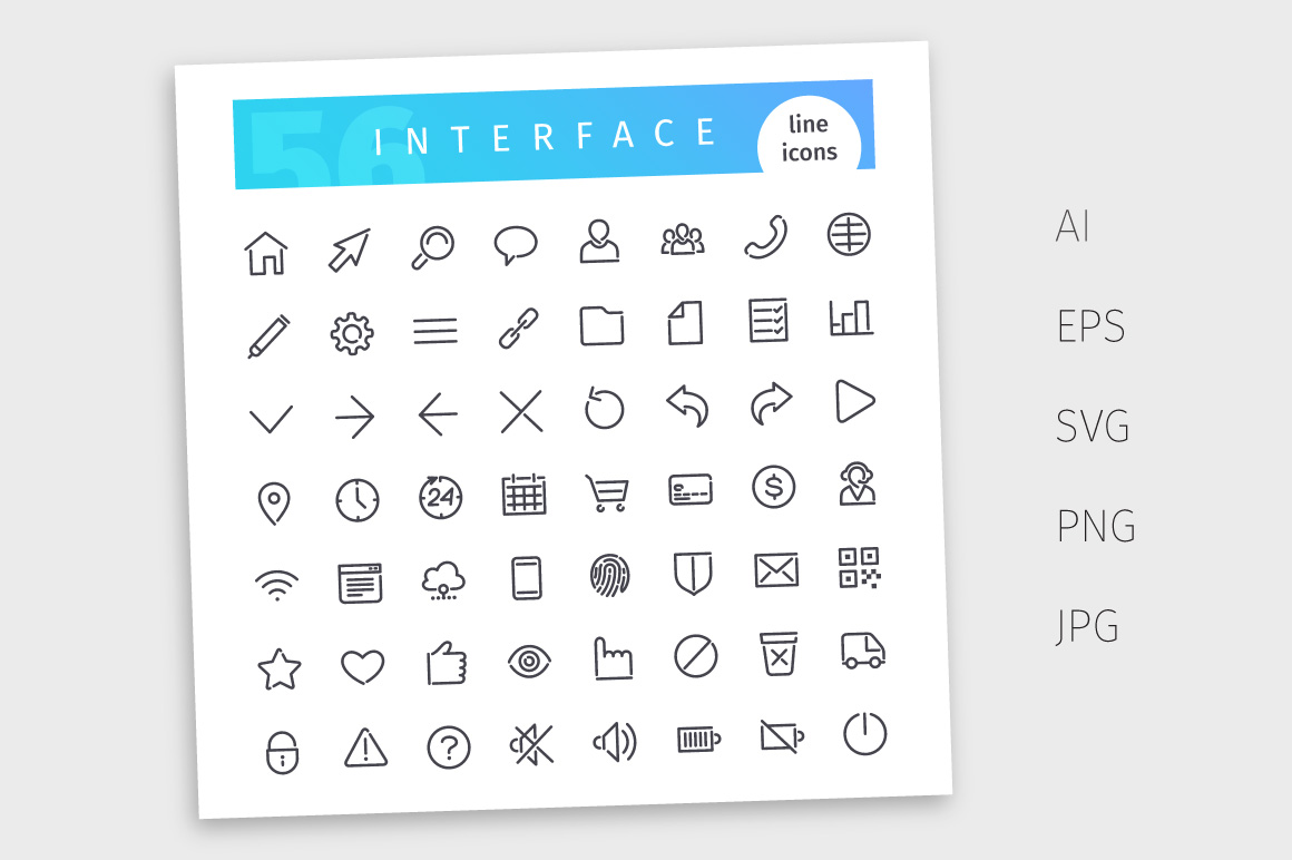Interface Line Icons Set example image 4
