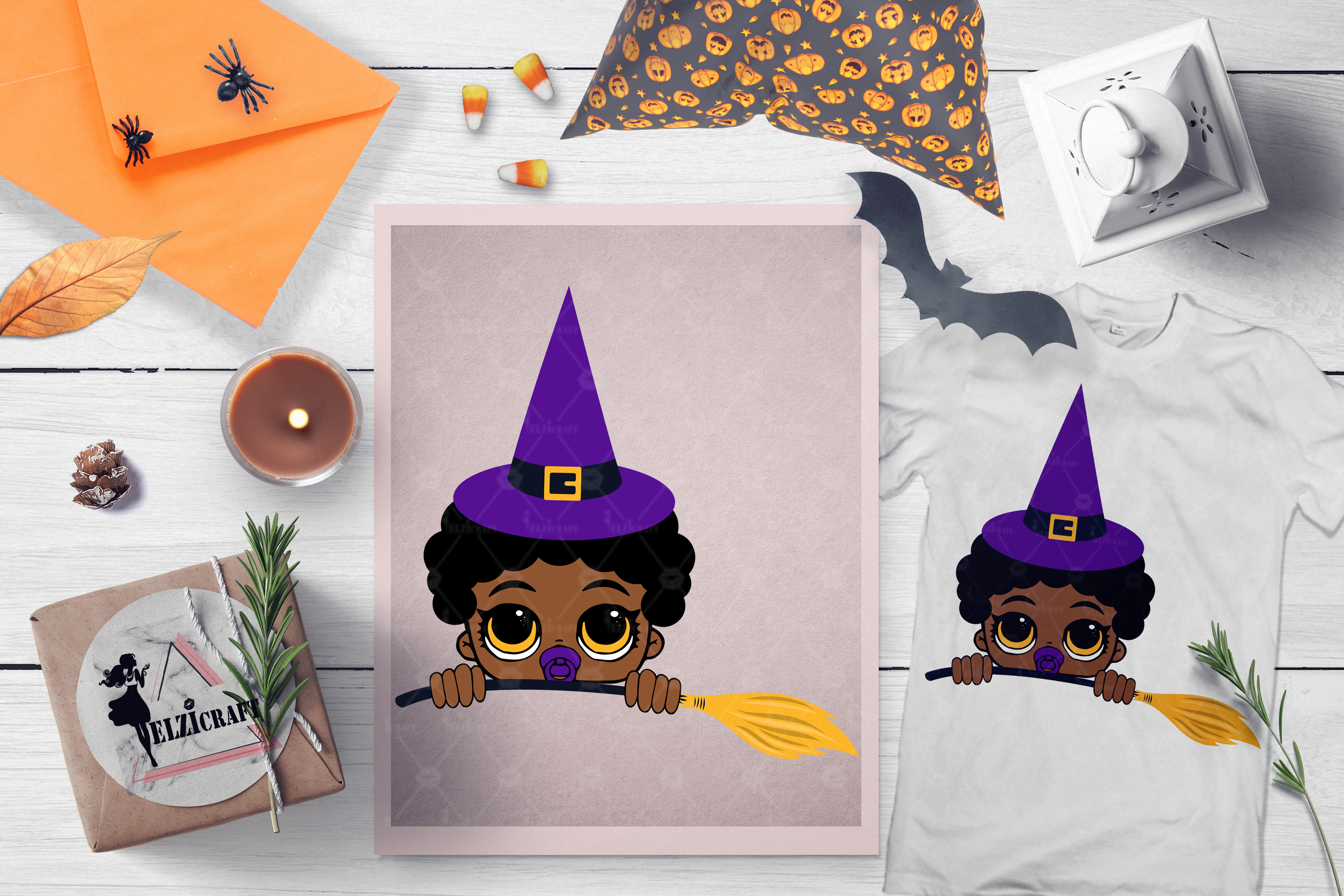 Halloween Peeking Witch Afro Baby Boy Broom SVG Cut File example image 1