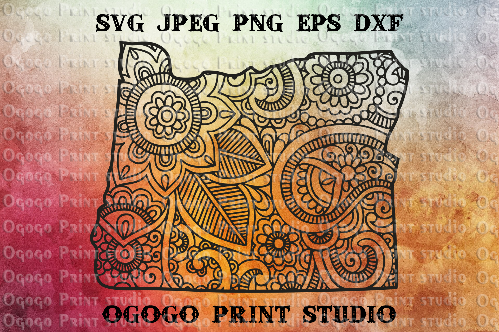 Oregon SVG, Map Zentangle SVG, Mandala svg, Travel svg example image 1