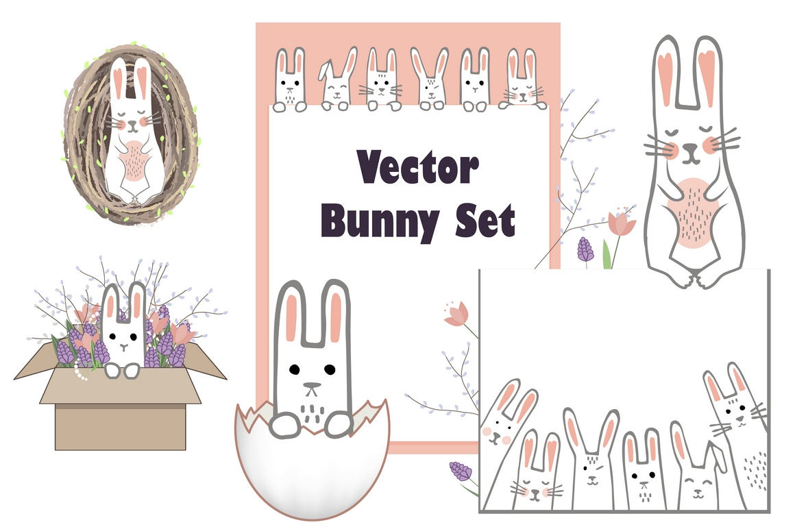 Vector Bunny Collection example image 1