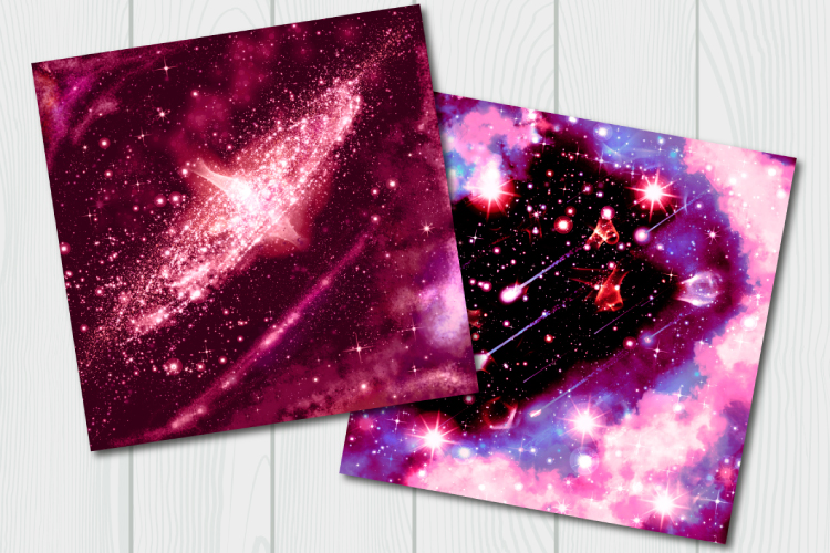Red galaxy digital paper. Starry sky example image 5