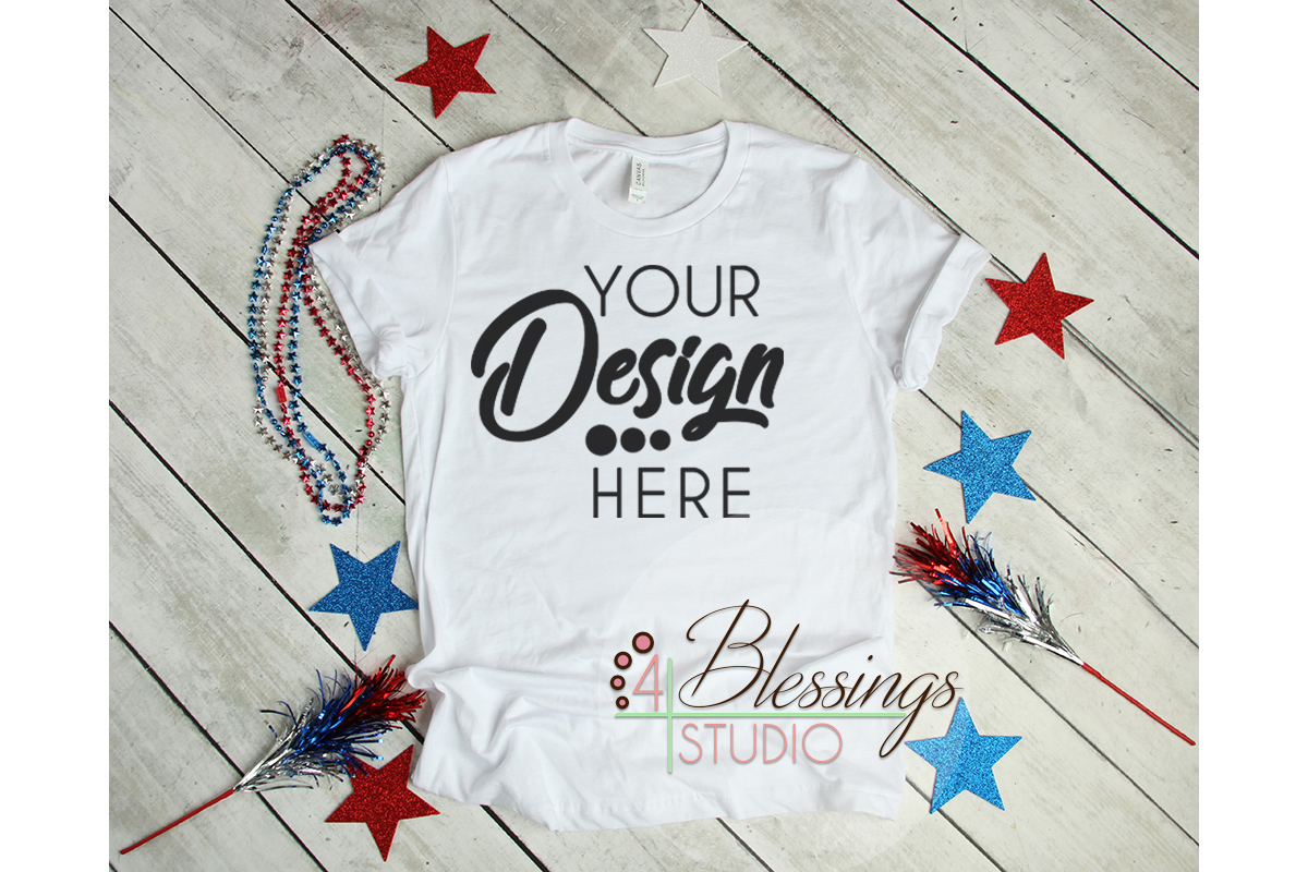 4th of July Mockup Bella Canvas 3001 Mock-up Unisex T Shirt example image 1
