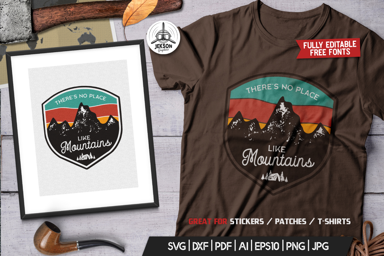 Mountains Logo, Retro Adventure Badge T-Shirt SVG Cut File example image 3