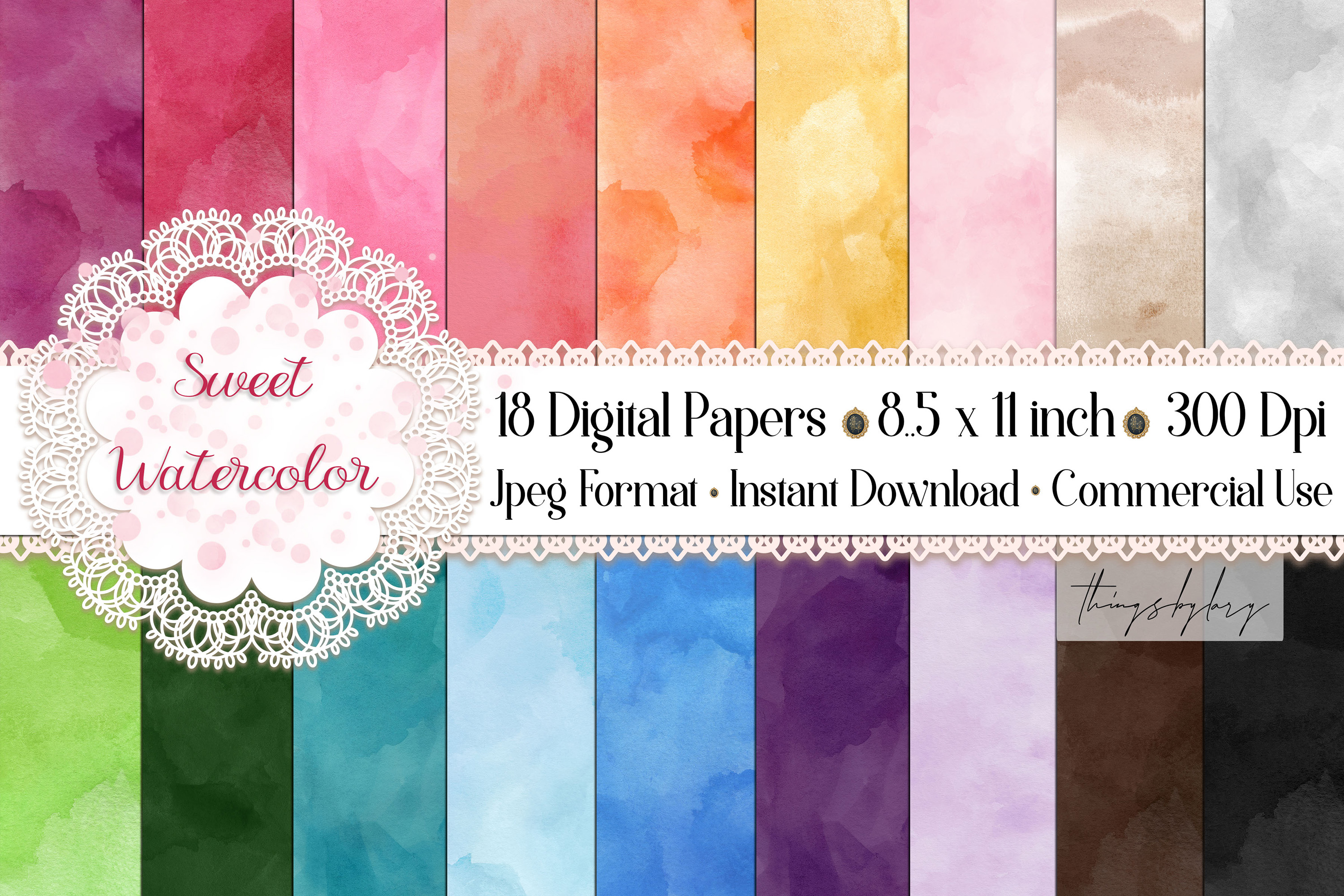 18 Sweet Ombre Watercolor Digital Images Card Invitation example image 1
