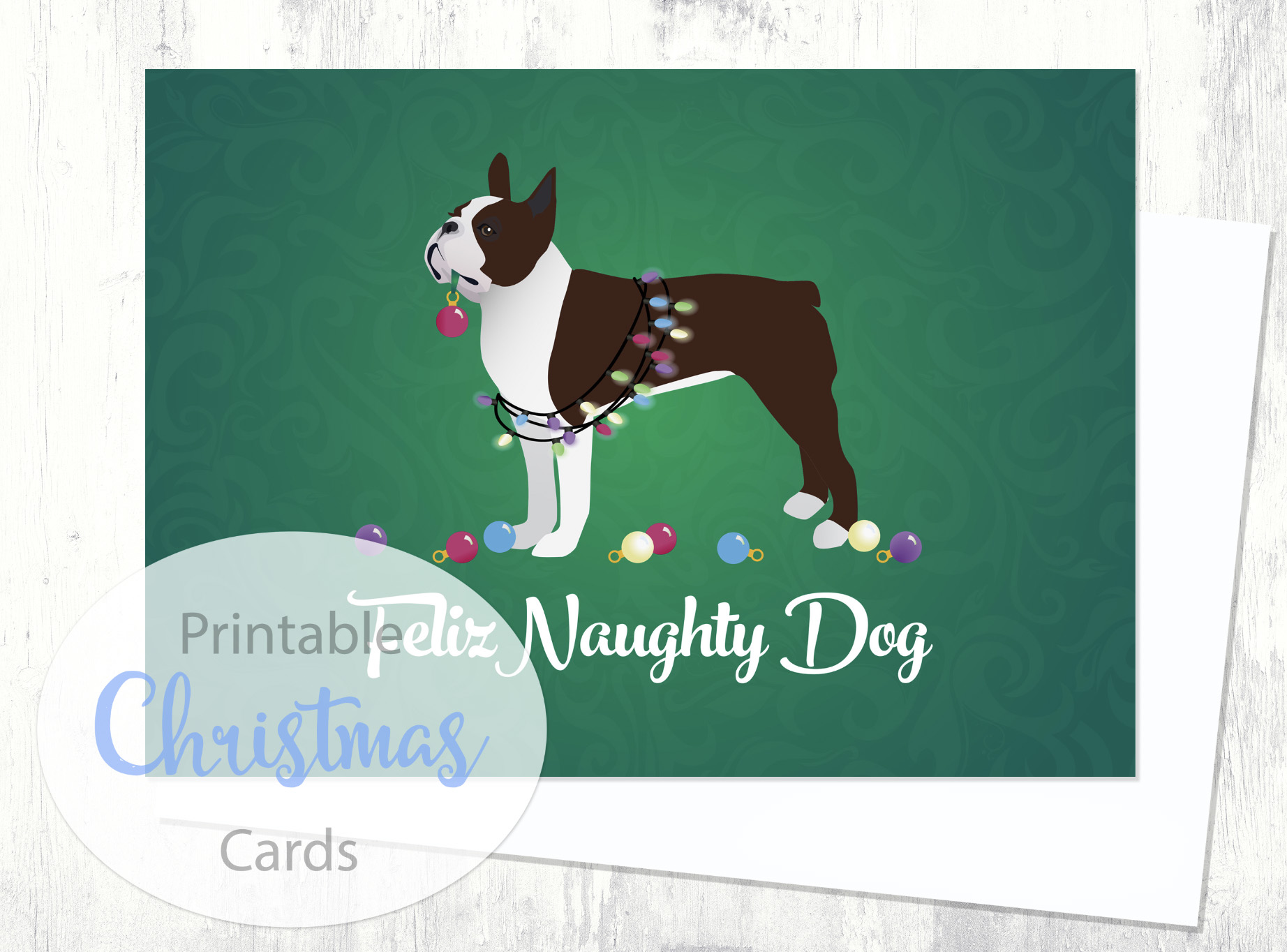 boston terrier brown dog christmas card from the breed collection digital download printable