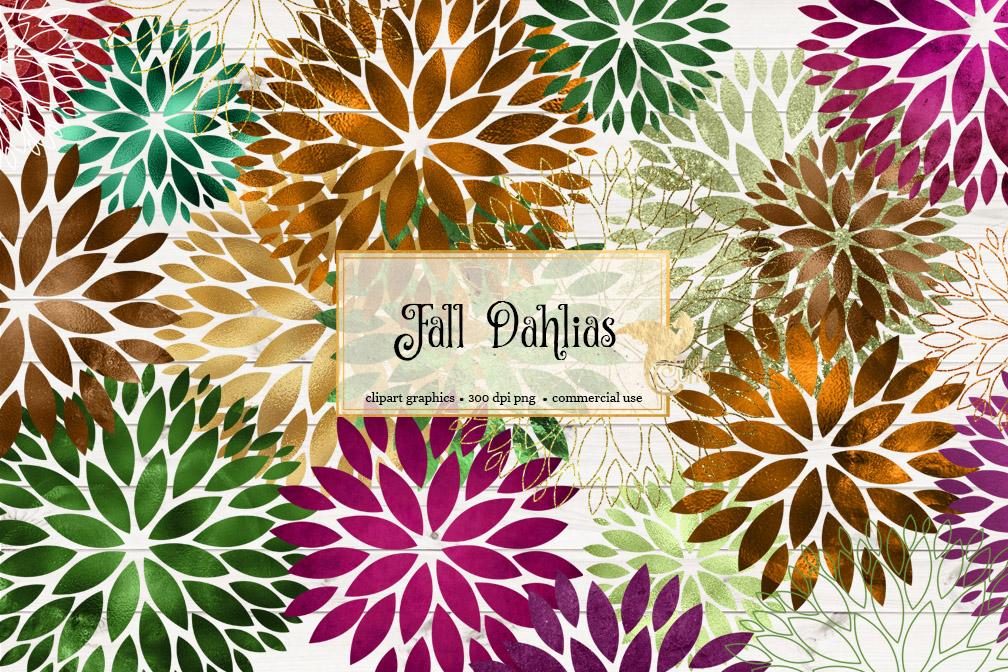 Fall Dahlia Clipart example image 2
