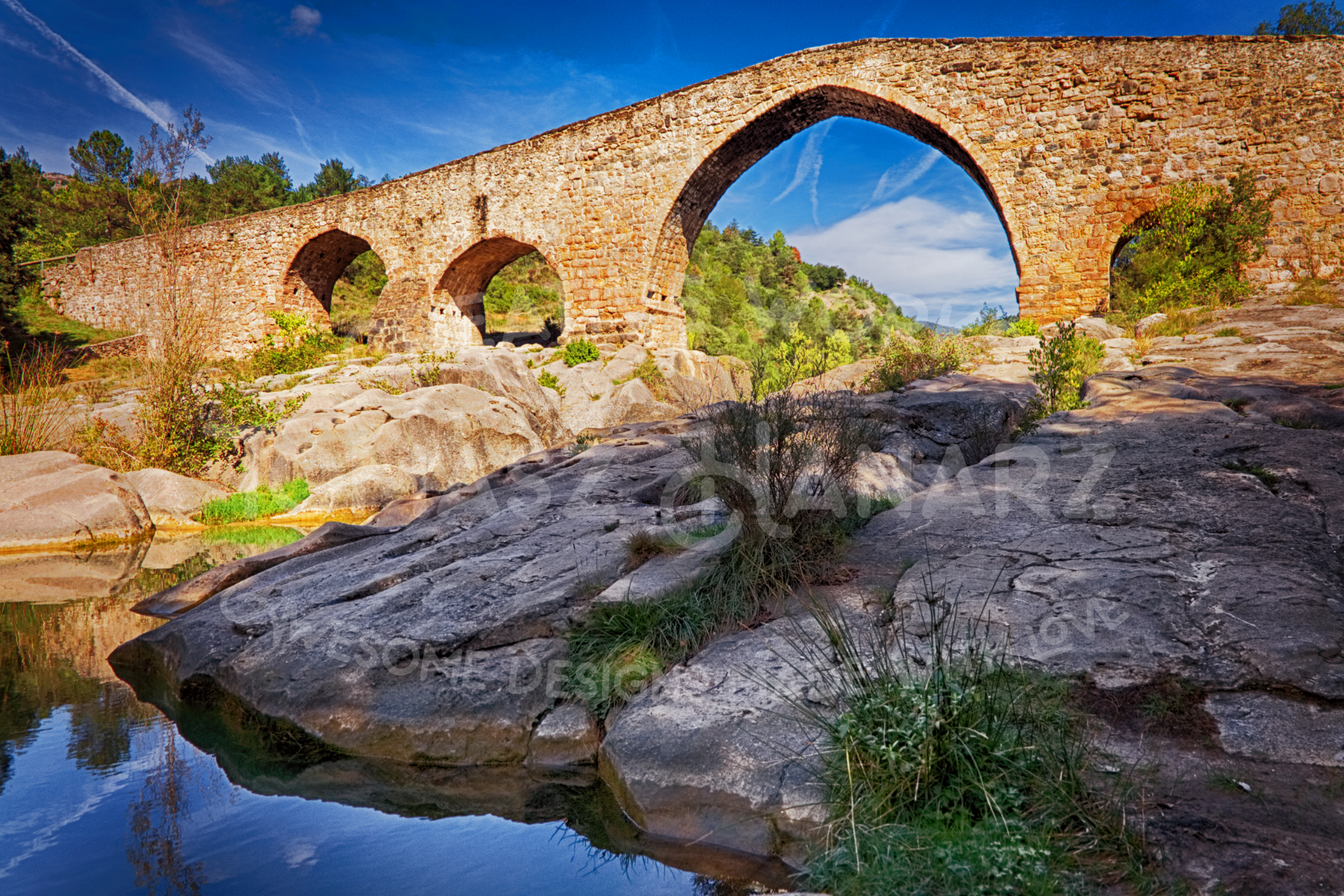 Gothic Stone Bridge Over The River Llobregat Photo Bundle example image 5
