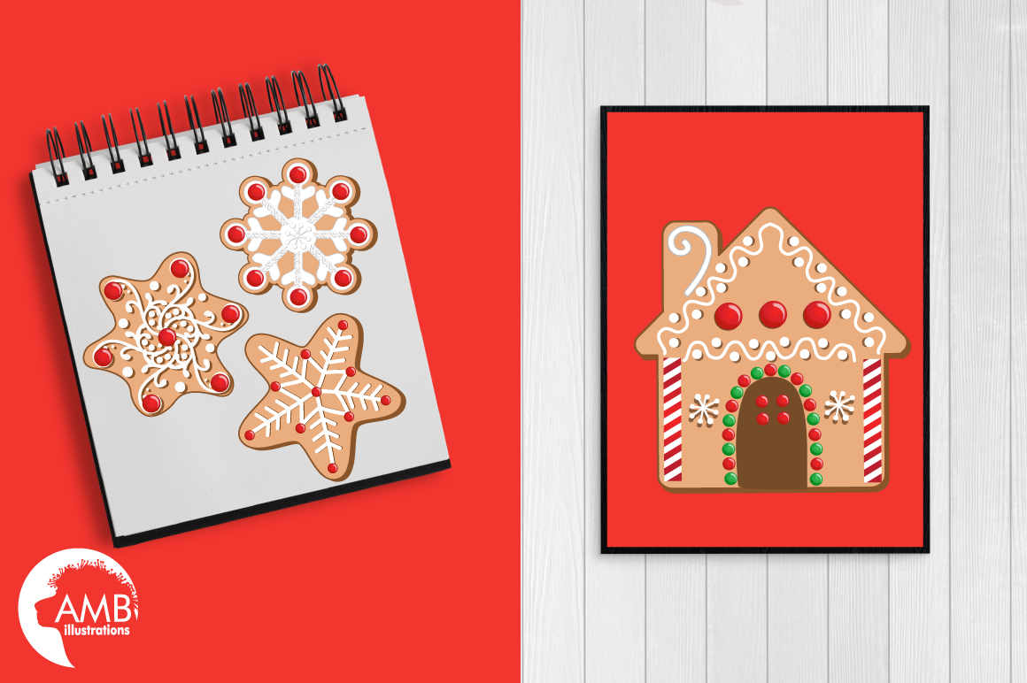 Christmas Cookie Clipart, GRAPHICS, ILLUSTRATIONS AMB-1539 example image 4