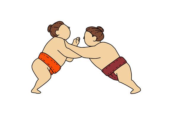 Rikishi Sumo Wrestler Pushing Side Mono Line example image 1