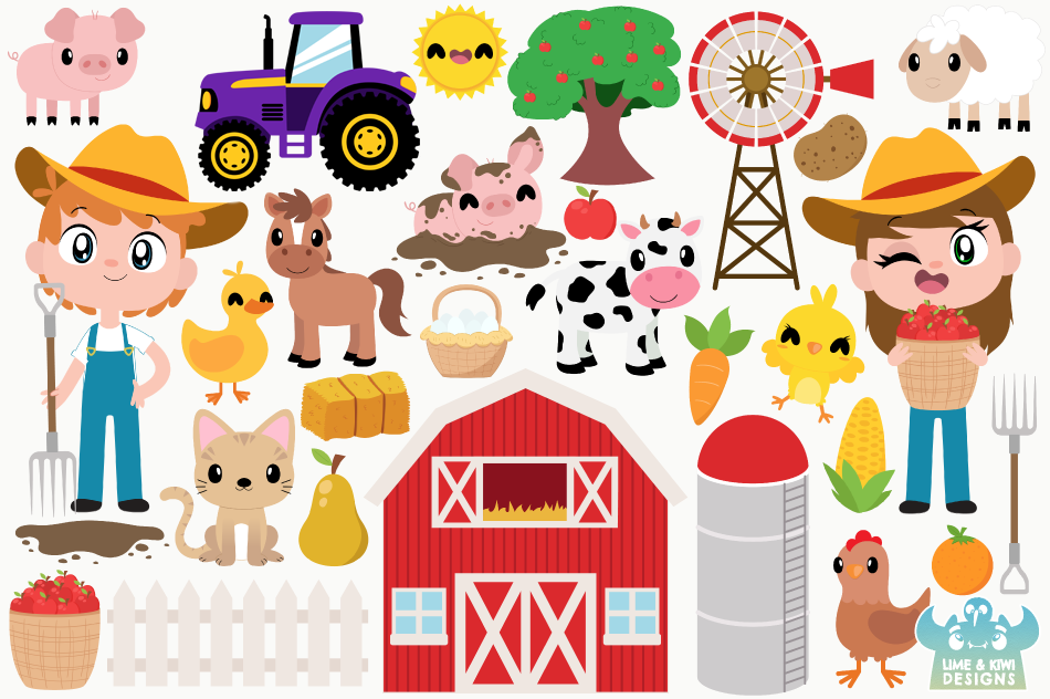 Happy Farm Clipart, Instant Download Vector Art example image 2