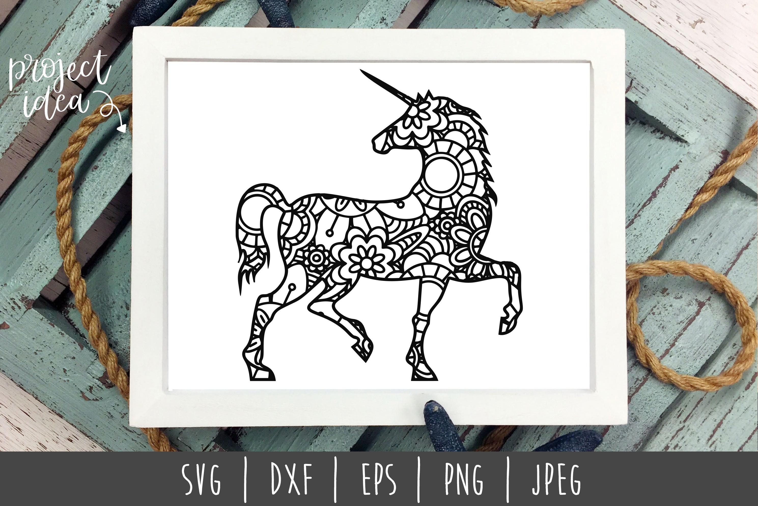 Unicorn Mandala Zentangle Bundle Set of 5 - SVG example image 5