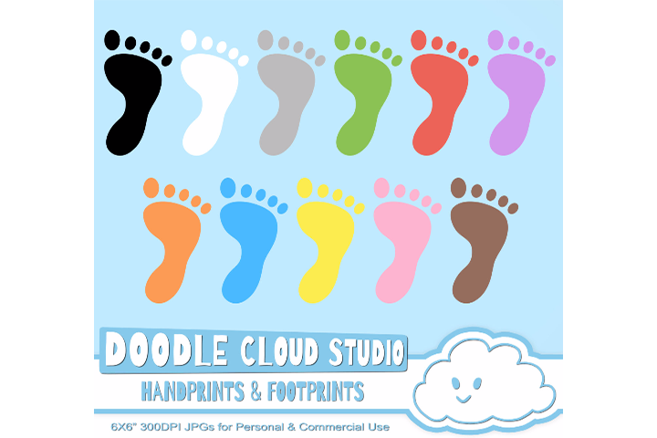 Colorful FootPrints & Handprints Cliparts, Hands Foot prints , Transparent / White Backgrounds Instant Download Personal and Commercial Use example image 3