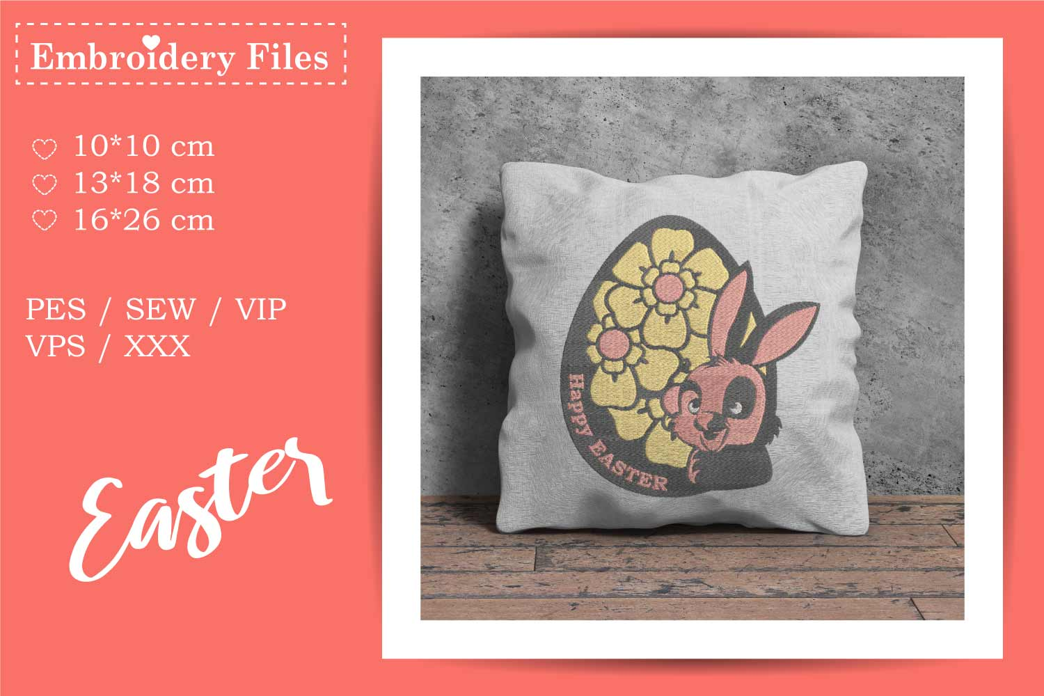 Cute Easter Bunny in an Egg - Embroidery File example image 2