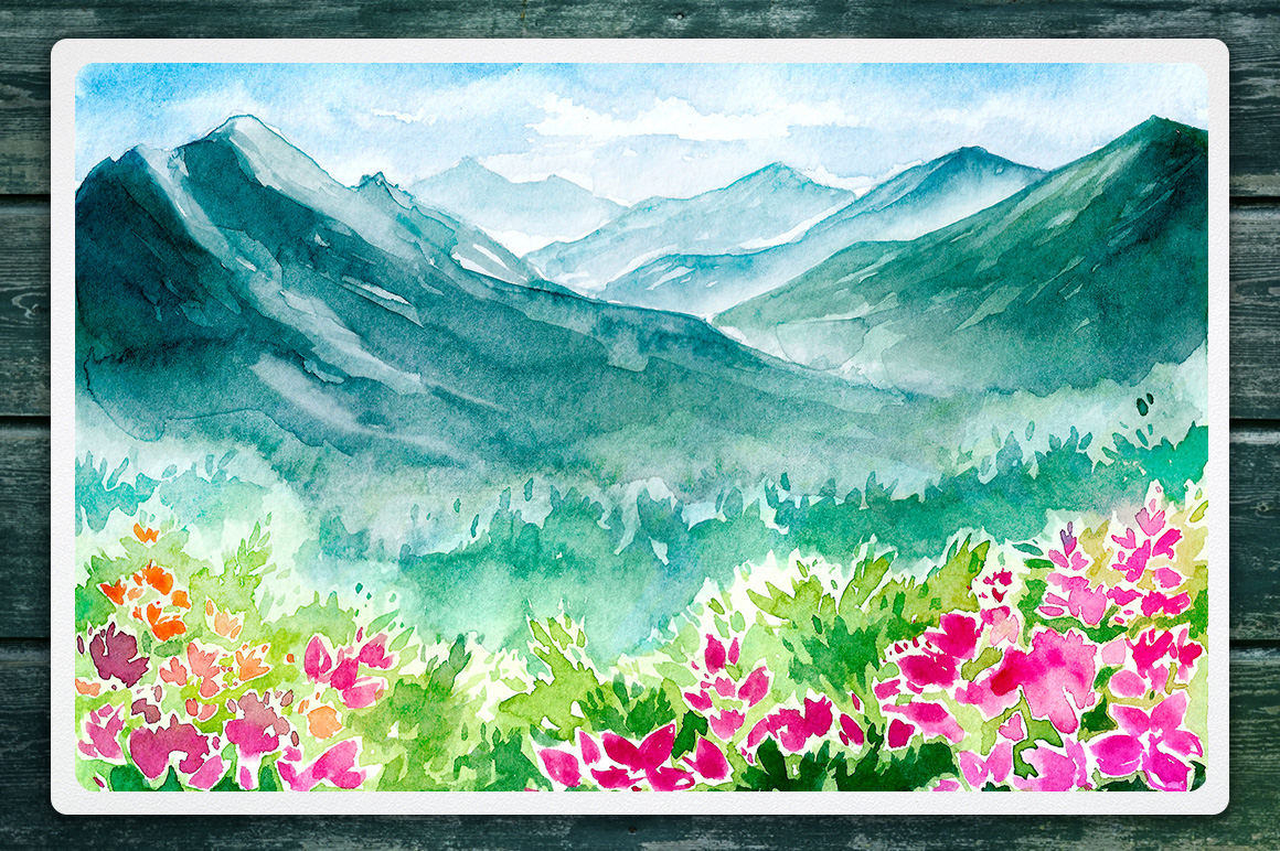 Watercolor Vector Landscapes set#2 example image 7
