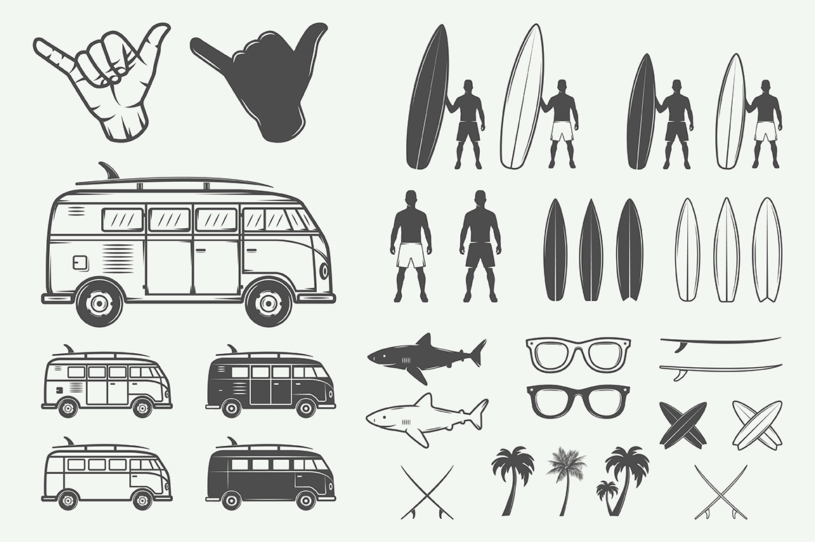 Vintage Surfing Emblems Bundle example image 2