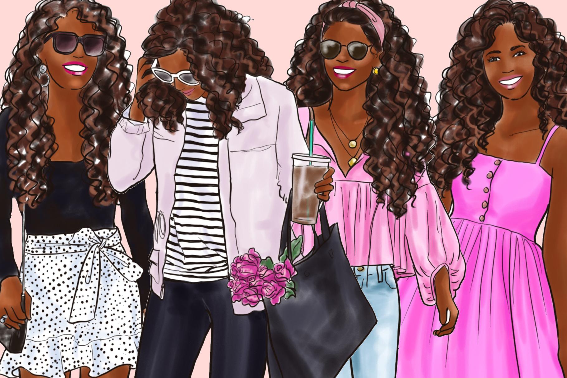 Fashion illustration clipart - Girls in Black & Pink - Dark example image 3