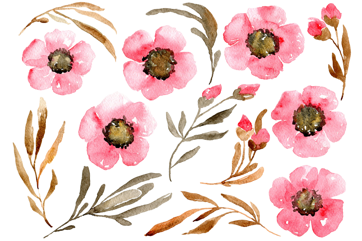 Pink watercolor flowers and brown leaves PNG collection example image 2