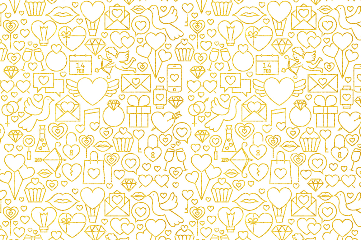 Valentine Day Line Gold Tile Pattern example image 2