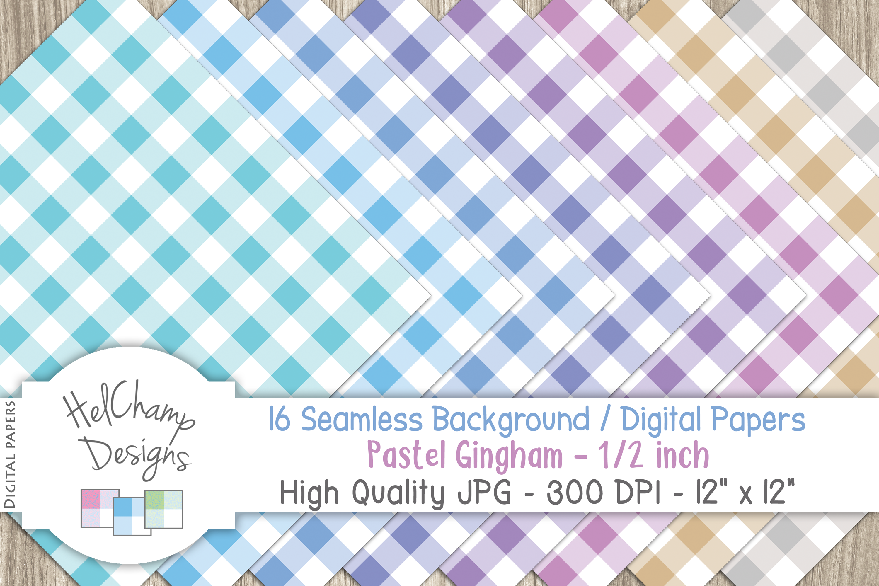 16 seamless Digital Papers - Pastel Gingham 1/2 inch - HC004 example image 4