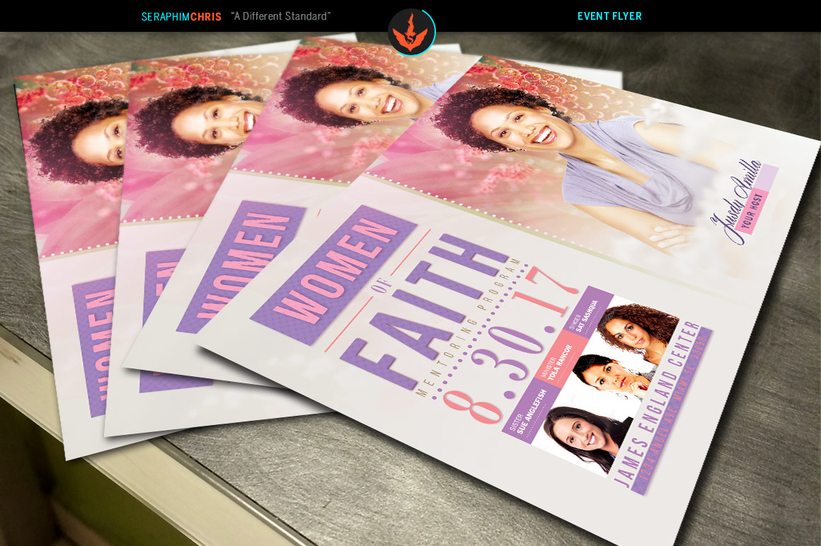 Women of Faith Conference Flyer Photoshop Template example image 3