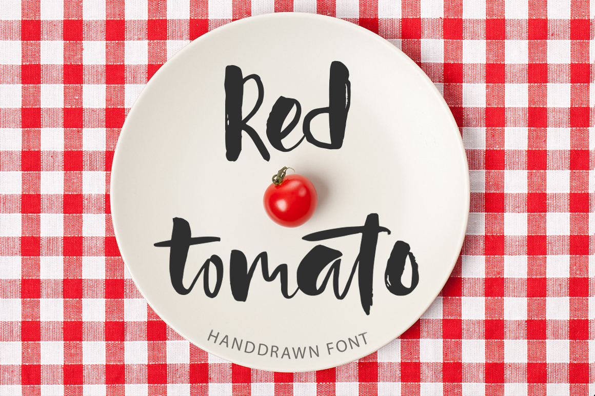 Red tomato. Script font. example image 1