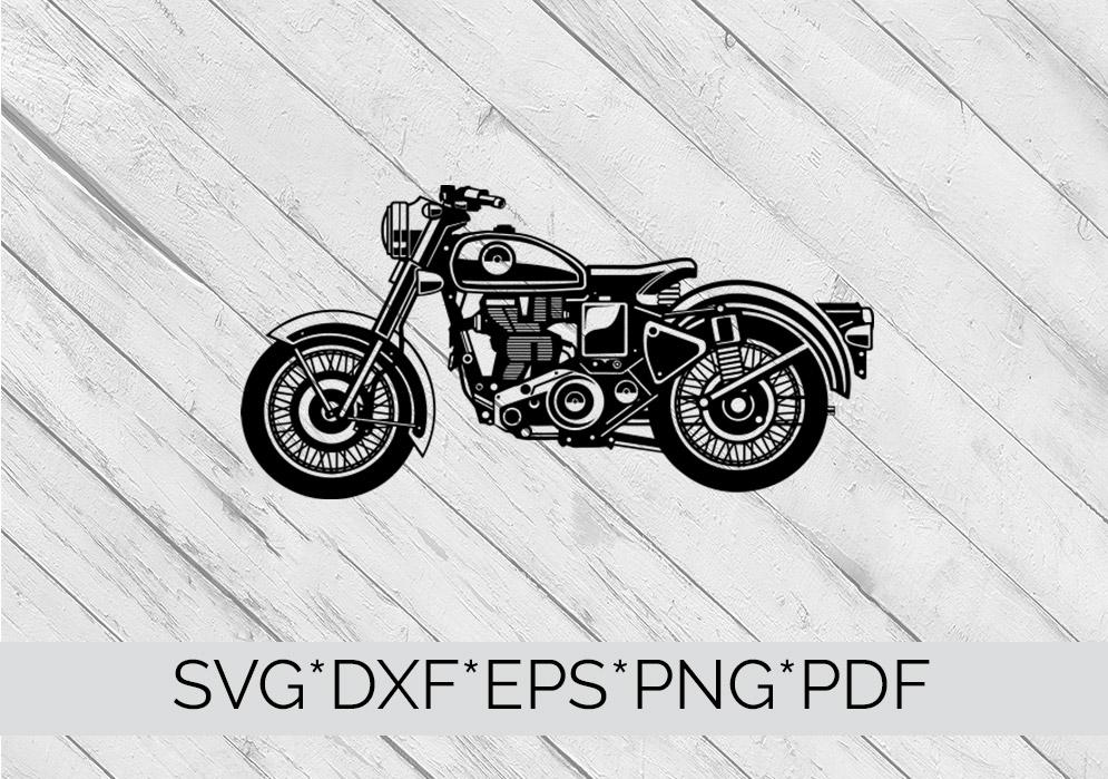 Vintage Motorbike, Motorcycle  SVG Cutting File  example image 4