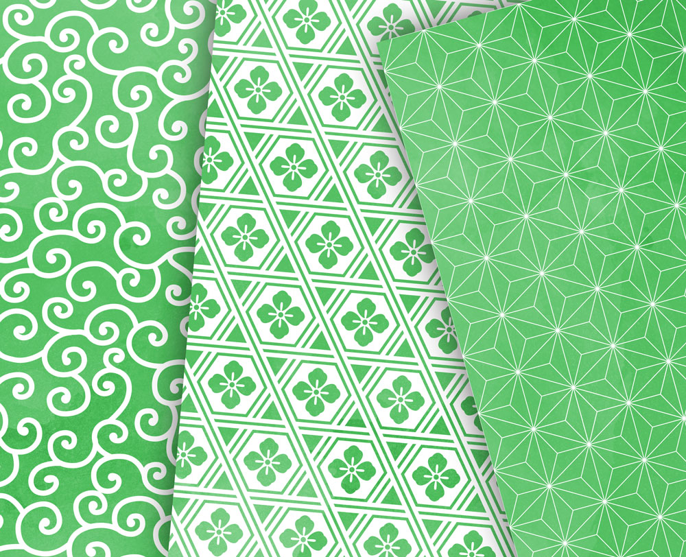 Greenery Digital Paper Japanese Background Patterns in Green example image 3