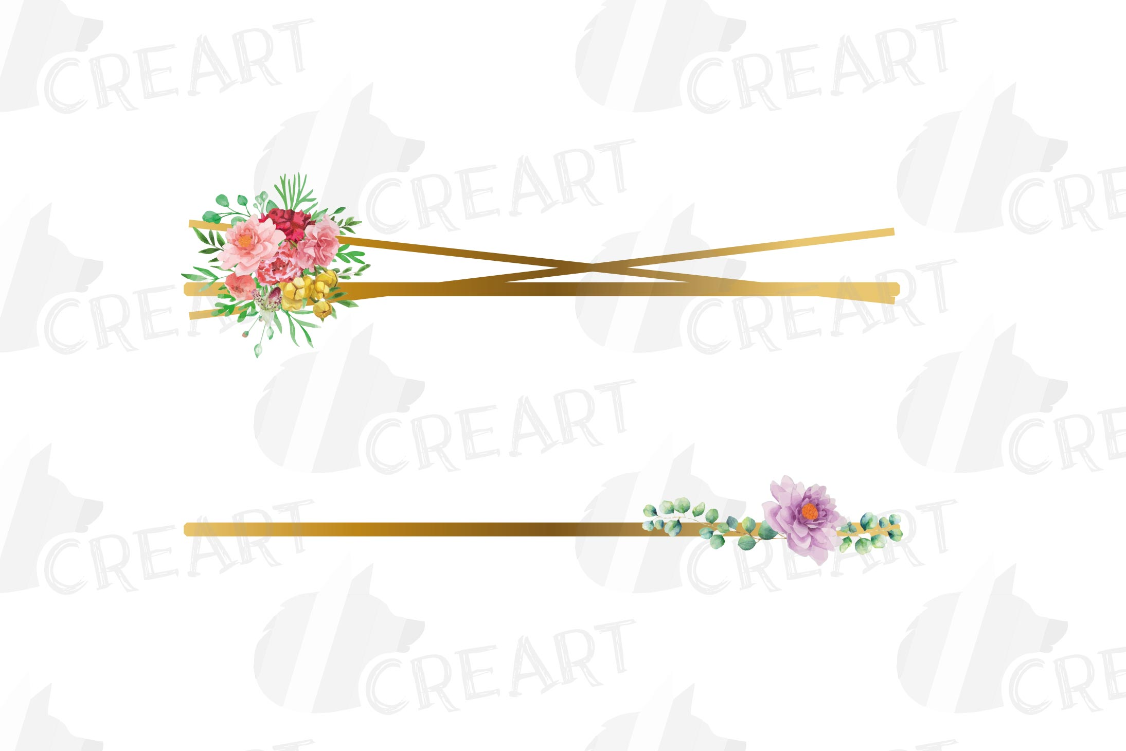 Watercolor floral golden frames and borders clip art pack example image 4