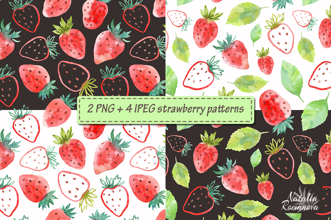 Strawberry watercolor design example image 3