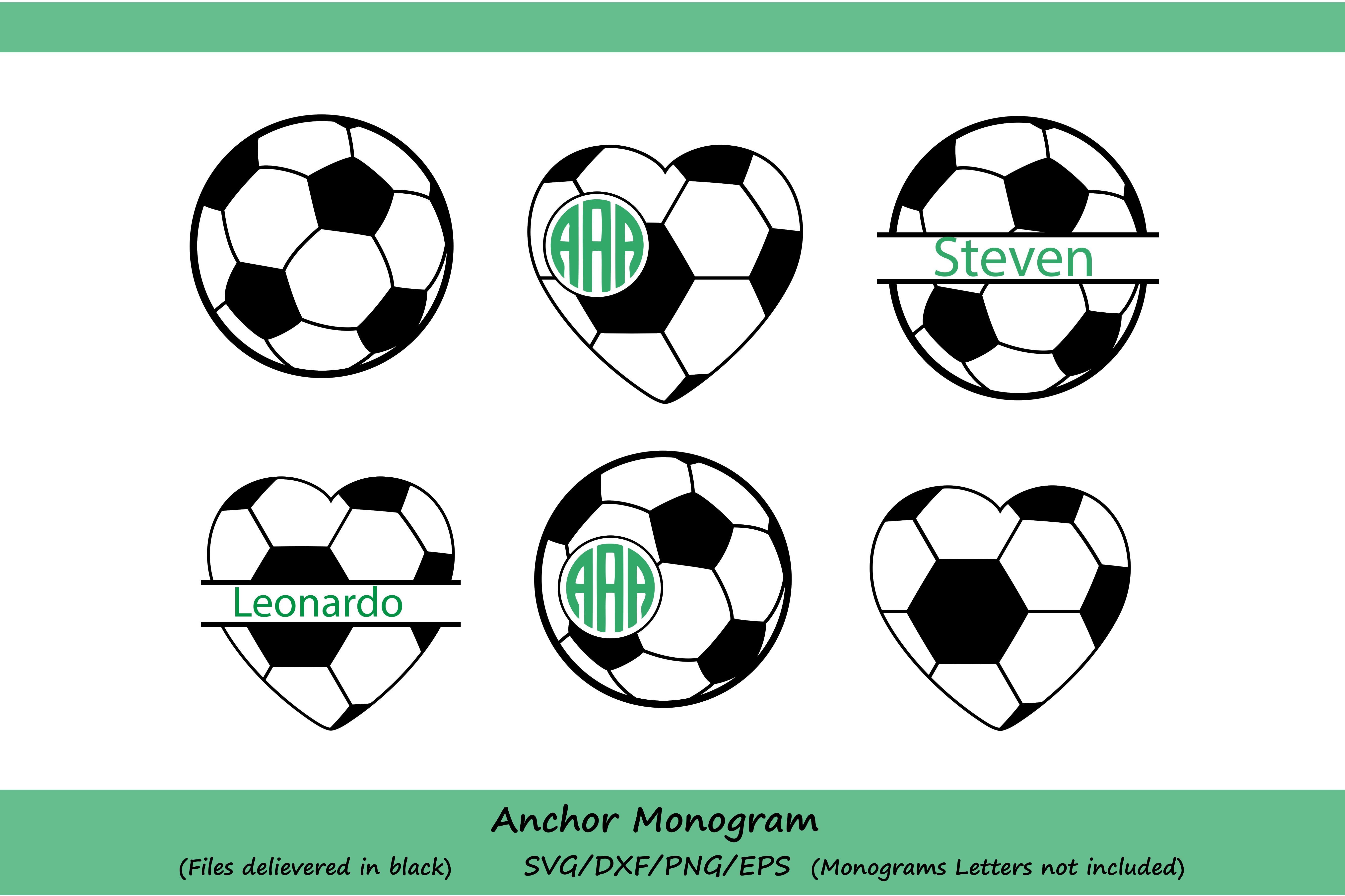 Soccer svg, Soccer Ball Svg, Soccer Monogram Svg, Soccer Mom Svg, Soccer Ball Monogram, Soccer silhouette, Cricut Files, svg, dxf, eps, png. example image 1
