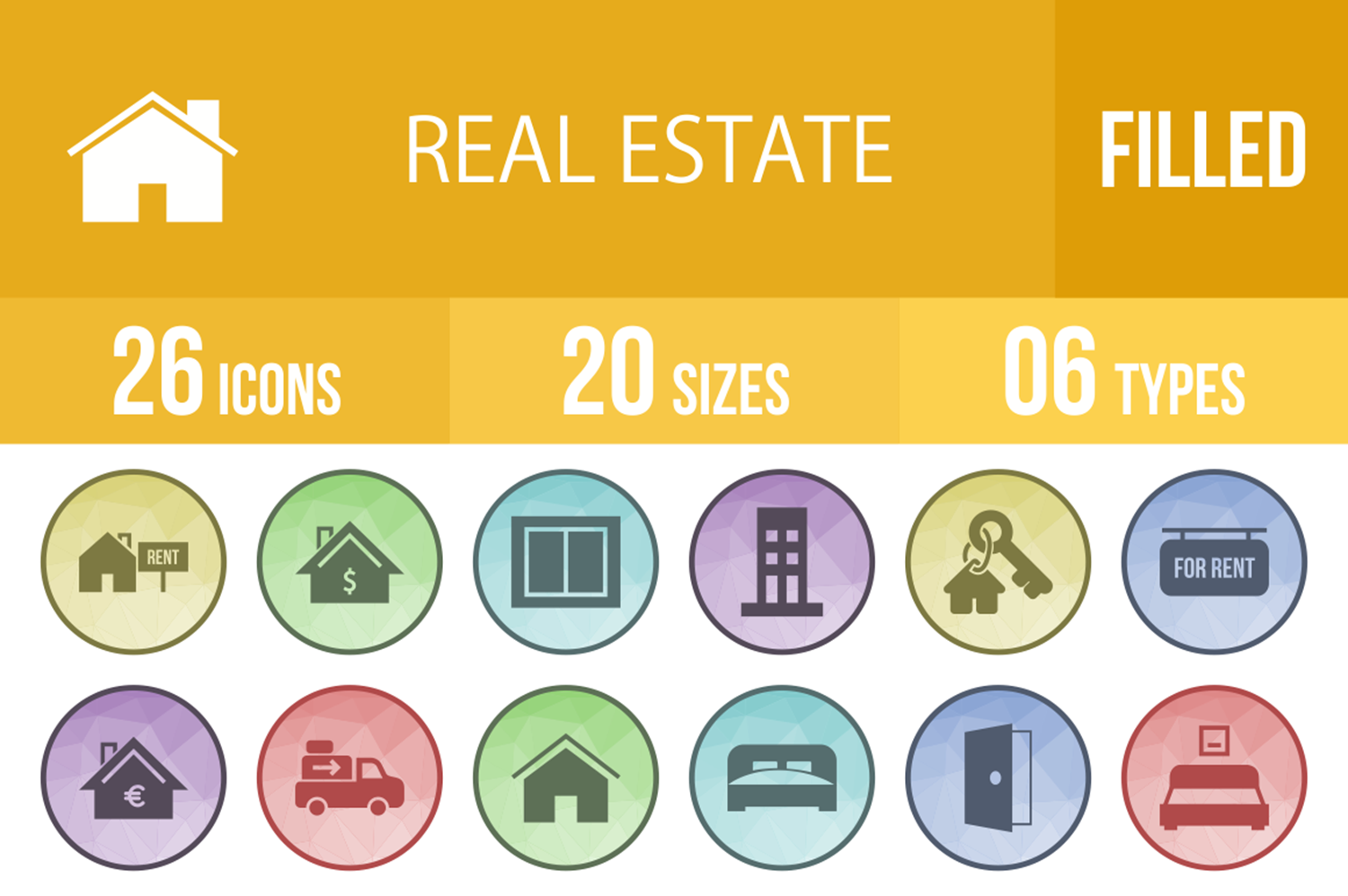 26 Real Estate Filled Low Poly Icons example image 1