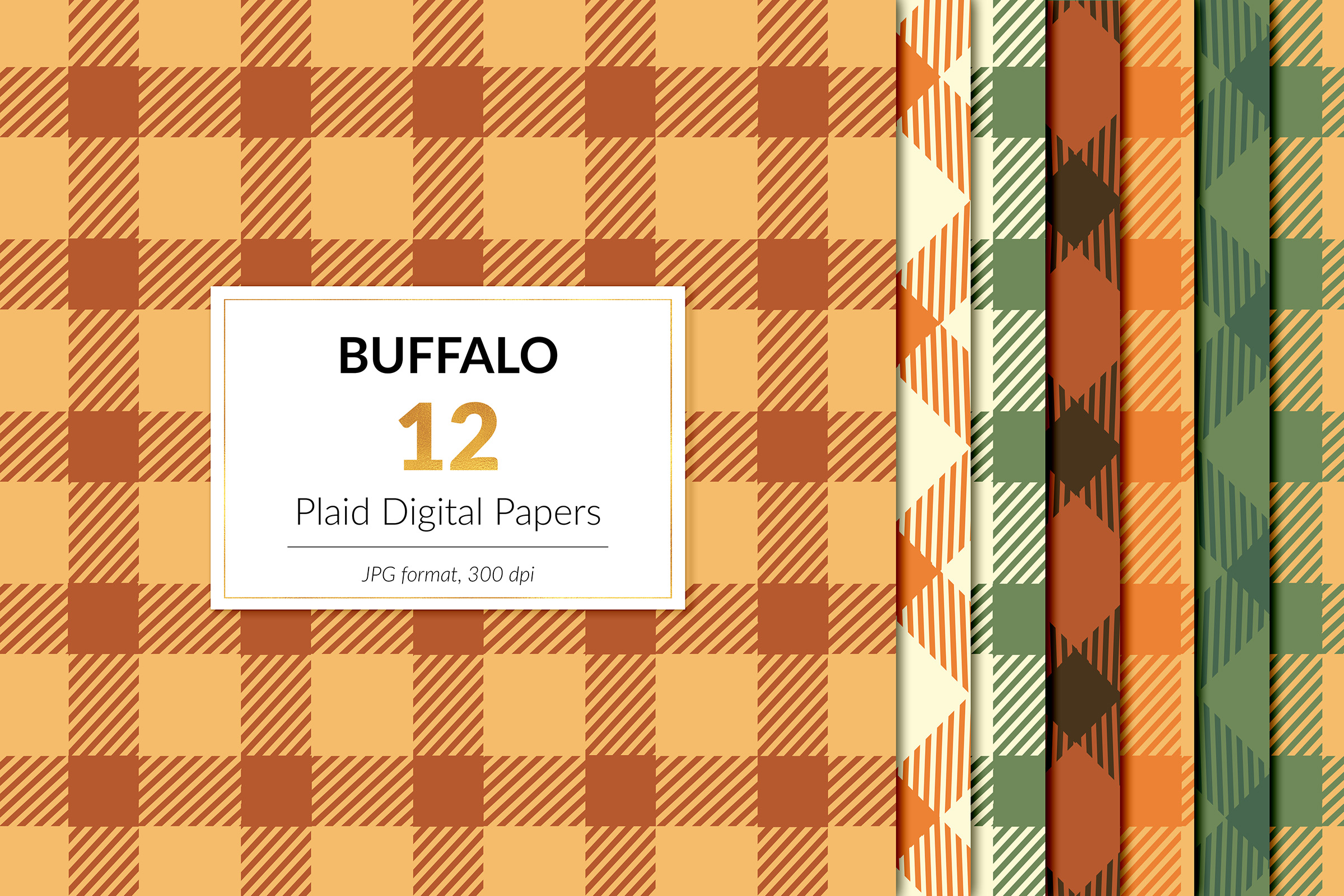 Fall Buffalo Plaid Digital Paper example image 1