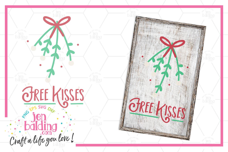 Free Kisses Mistletoe SVG example image 1