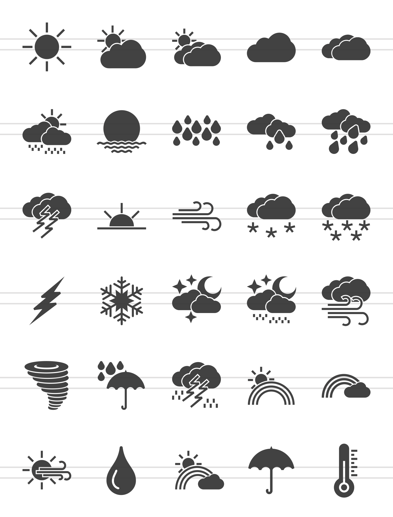 30 Weather Glyph  Icons example image 2