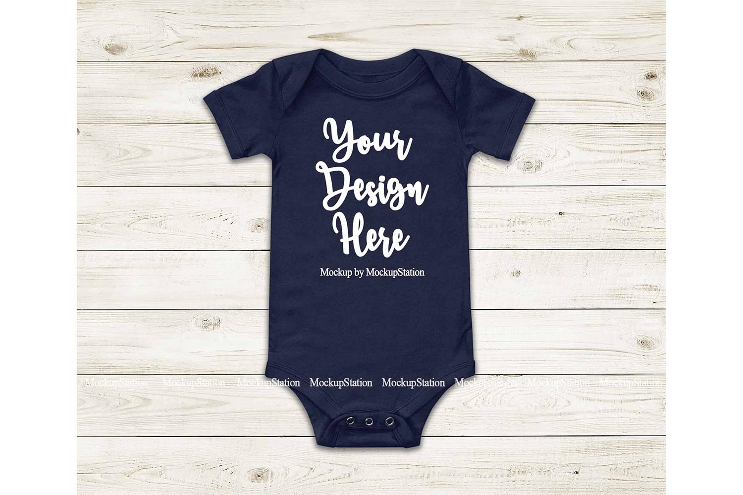 Baby Navy Bodysuit Mockup, Blank Newborn Infant Toddler Tee example image 1