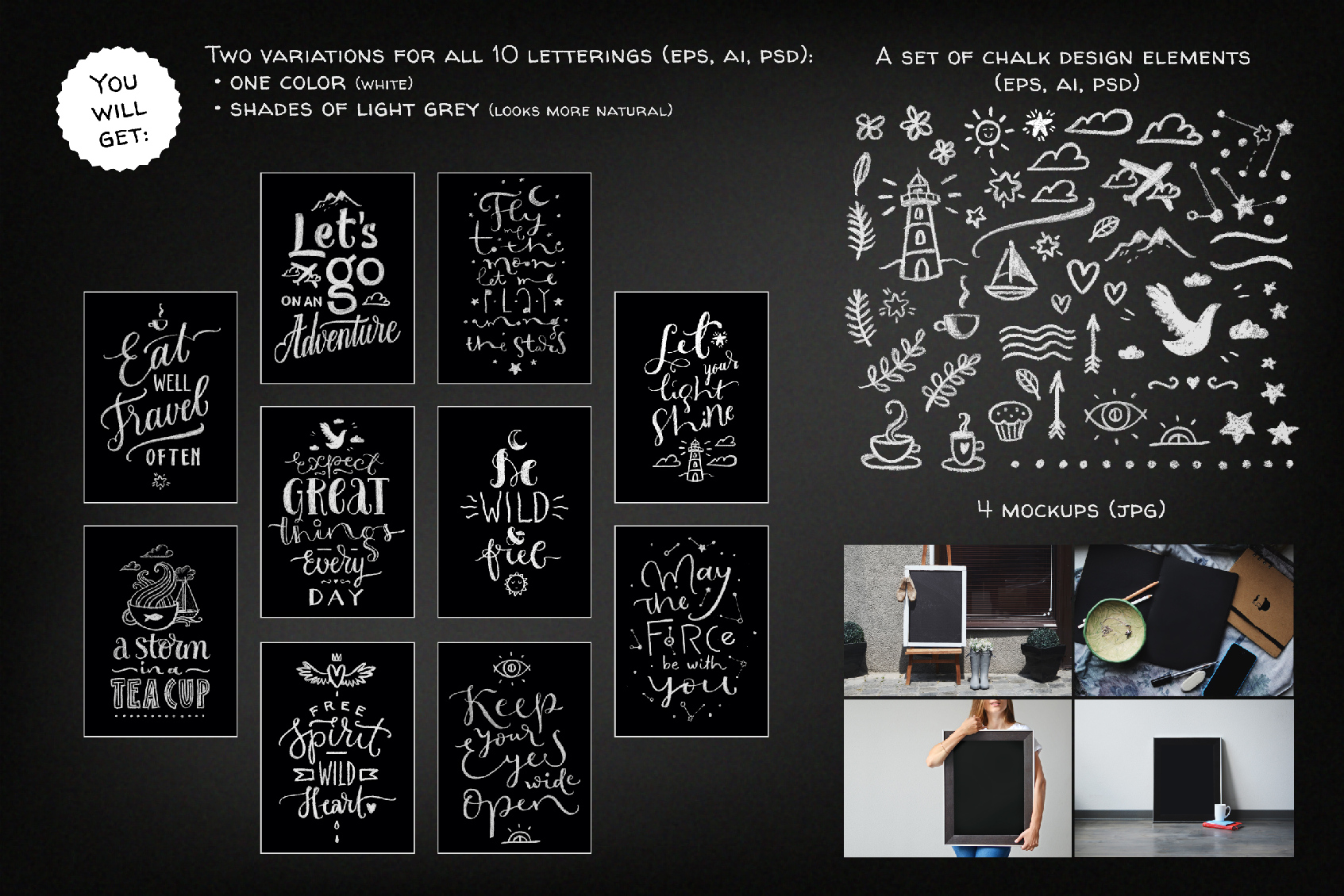 Chalk Lettering Set, Vector example image 3