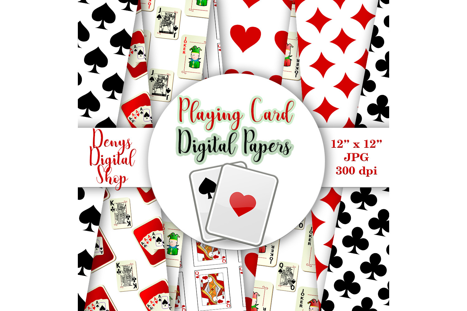 Playing Card Suits,Digital Wall,Playing Cards Pattern,50OFF example image 1