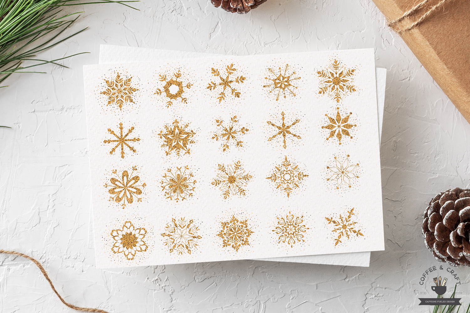 Golden Flecked Snowflakes example image 2