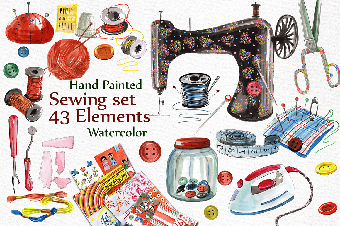 Watercolor sewing set clipart example image 1