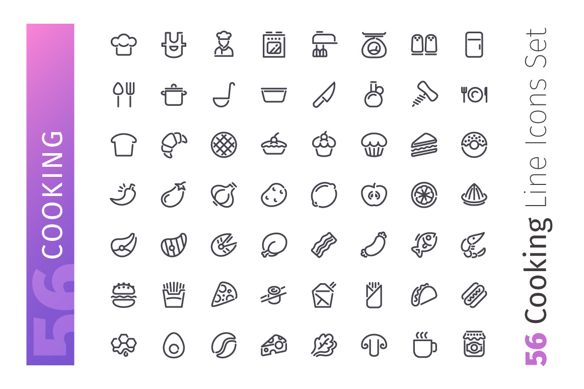 Cooking Line Icons Set example image 2