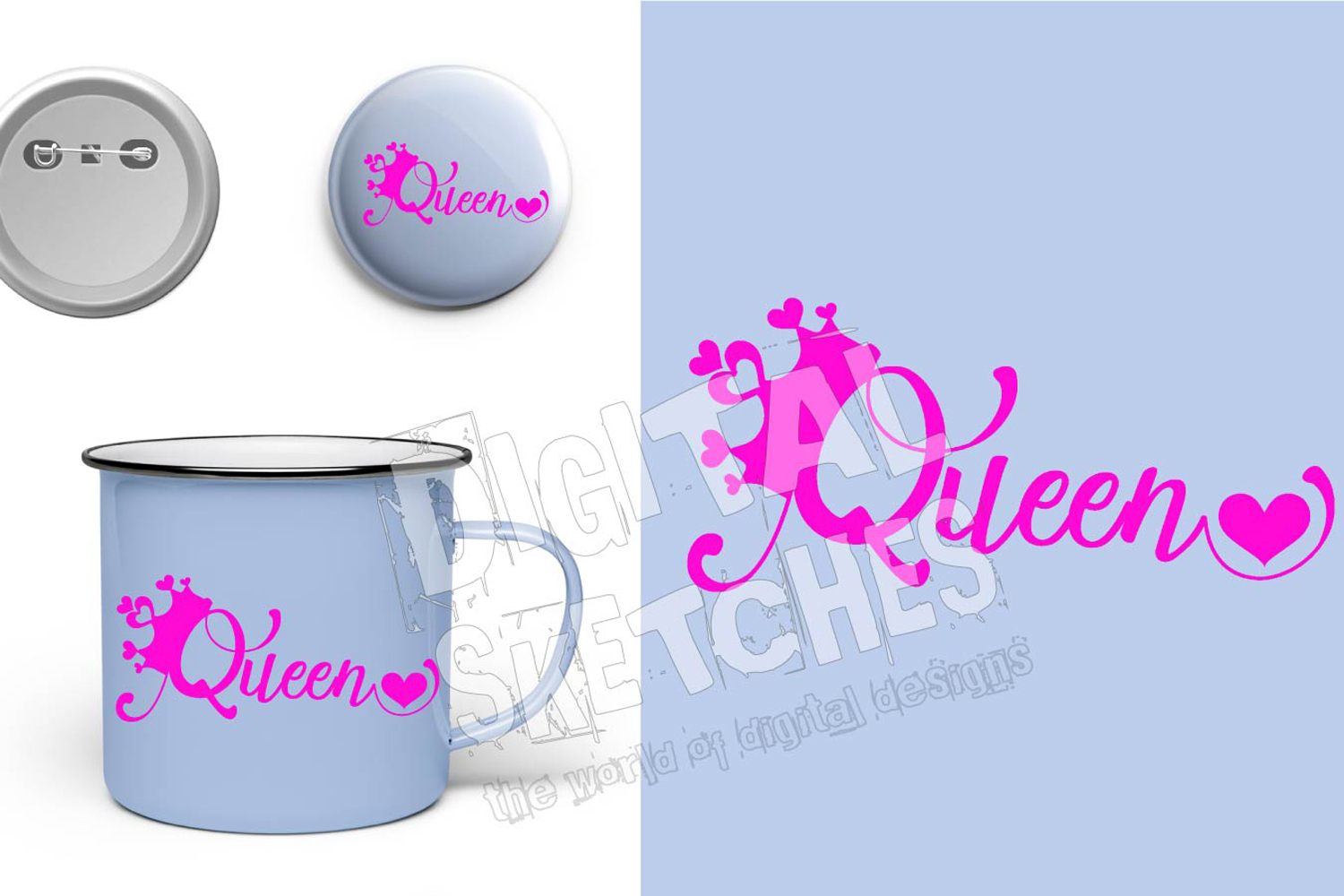 Princess Crown Queen Saying Heart Cut File Vector Graphics example image 3