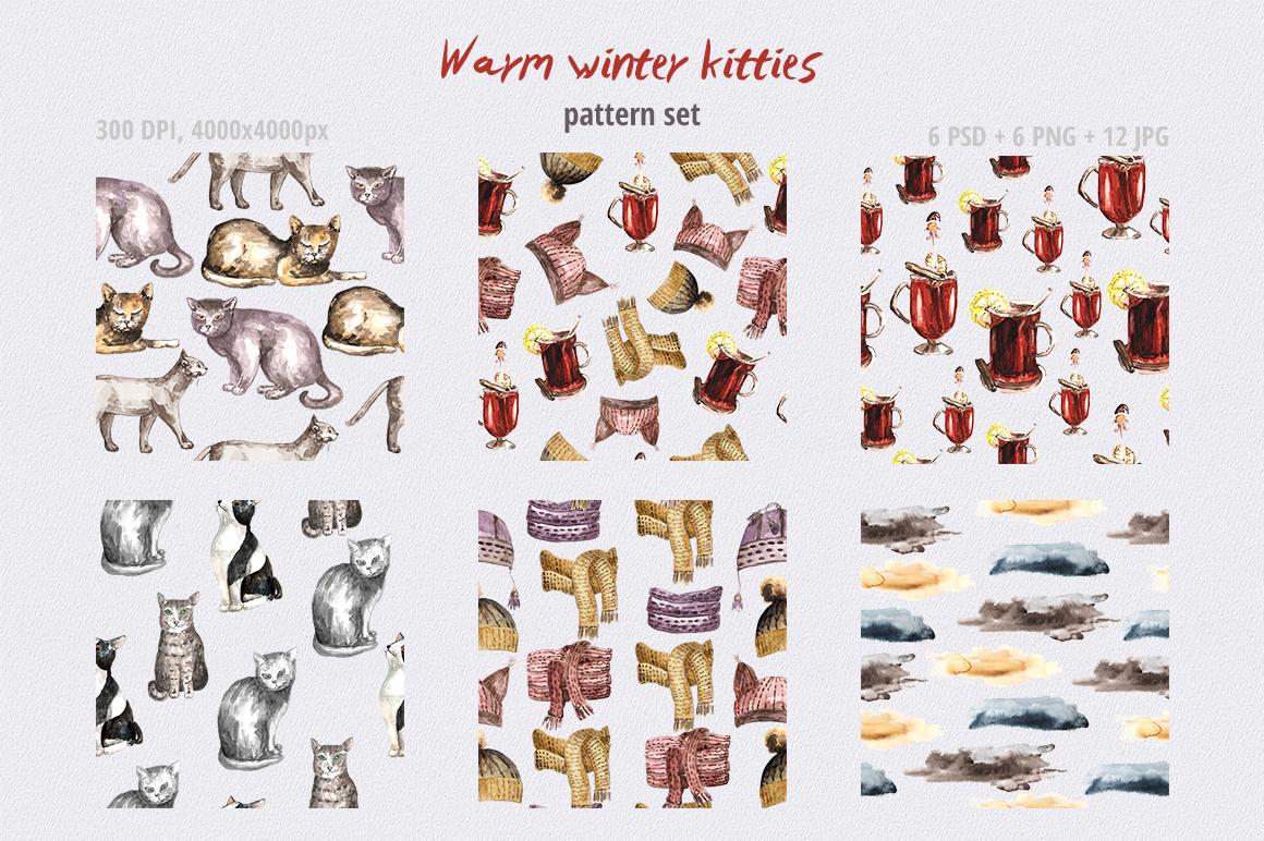 Warm Winter Kitties - watercolor example image 8