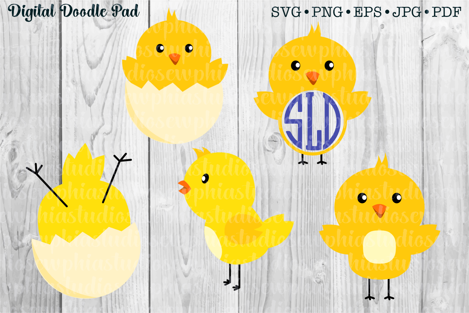 Spring Chicks Set by Digital Doodle Pad example image 1