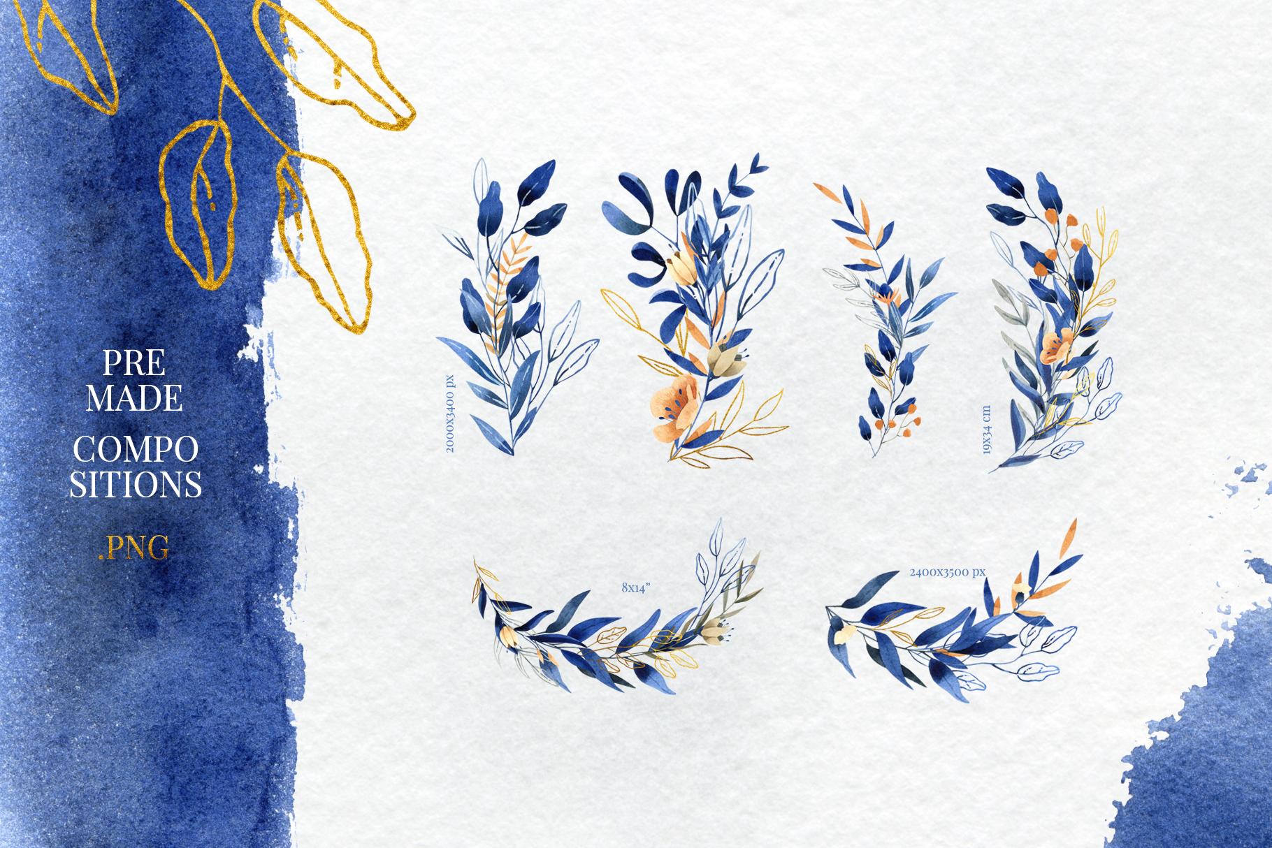 Deep Blue Alphabet Watercolor Design Kit example image 4