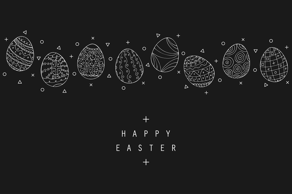 Hand drawn Easter eggs colletion. example image 4
