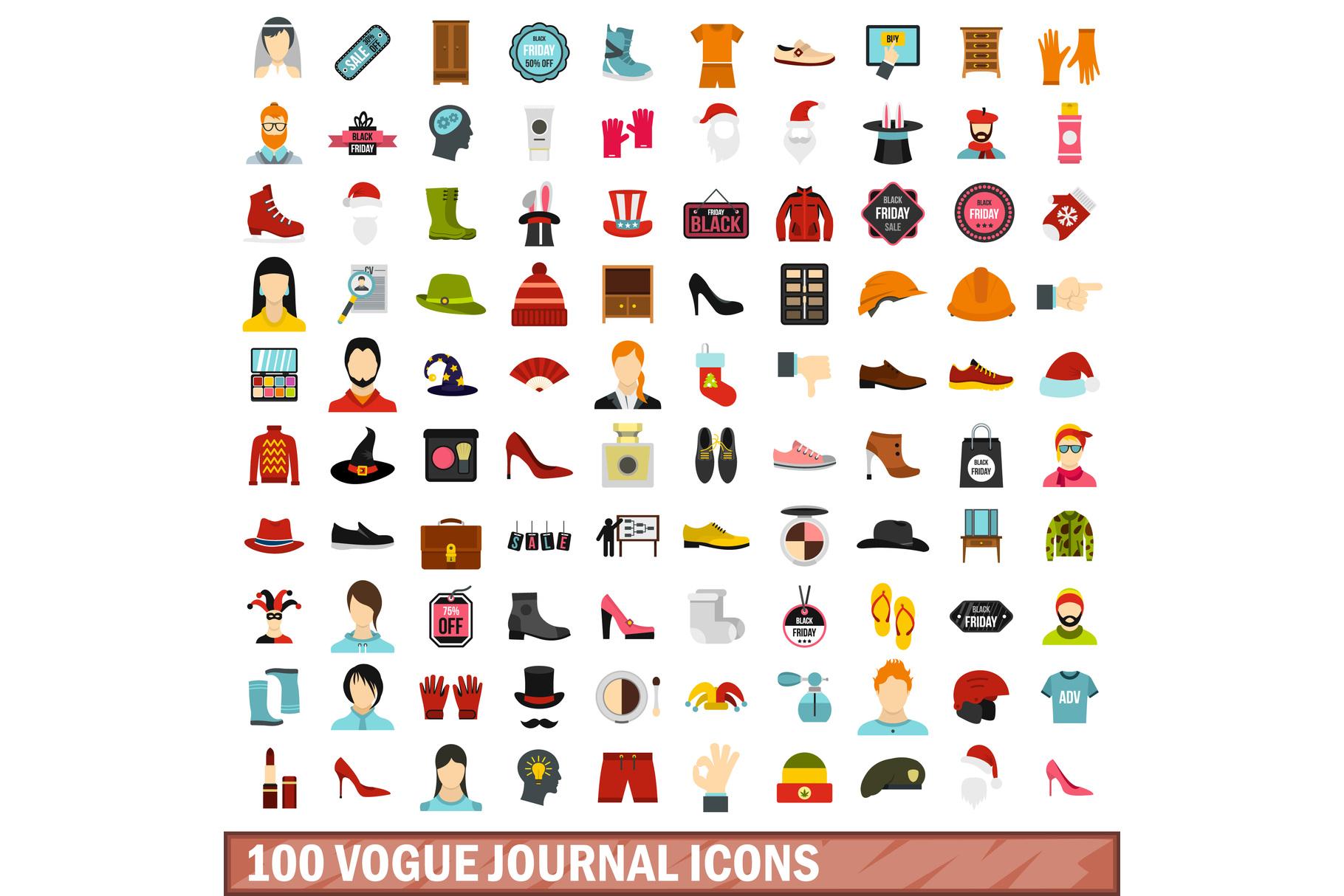 100 vogue journal icons set, flat style example image 1